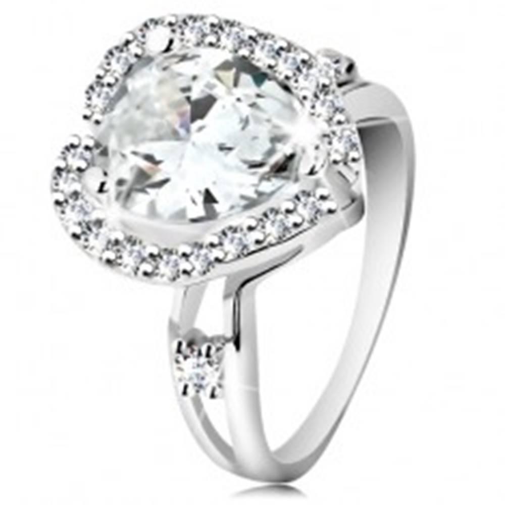 Šperky eshop Strieborný prsteň 925, rozdvojené ramená, veľká brúsená slza, zvlnený lem - Veľkosť: 48 mm