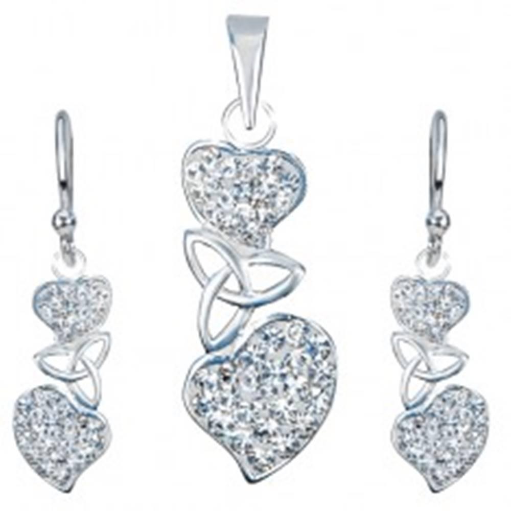 Šperky eshop Strieborný set 925 - náušnice a prívesok, číre srdcia, keltský uzol