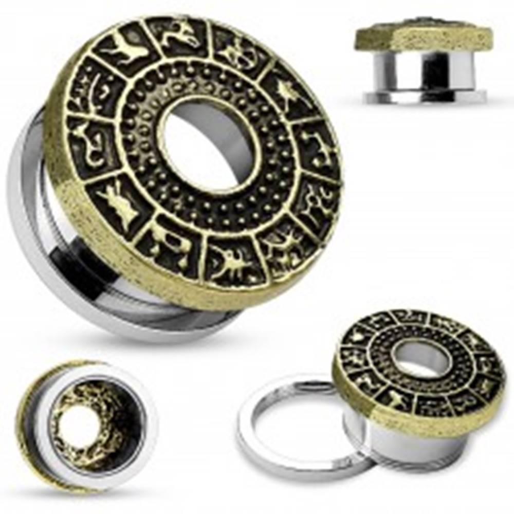 Šperky eshop Tunel do ucha z chirurgickej ocele, zlatá farba, patinovaný zverokruh - Hrúbka: 10 mm