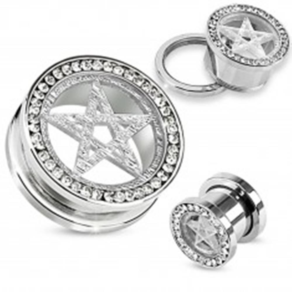 Šperky eshop Tunel plug do ucha z chirurgickej ocele, strieborná farba, pentagram, zirkóny - Hrúbka: 14 mm