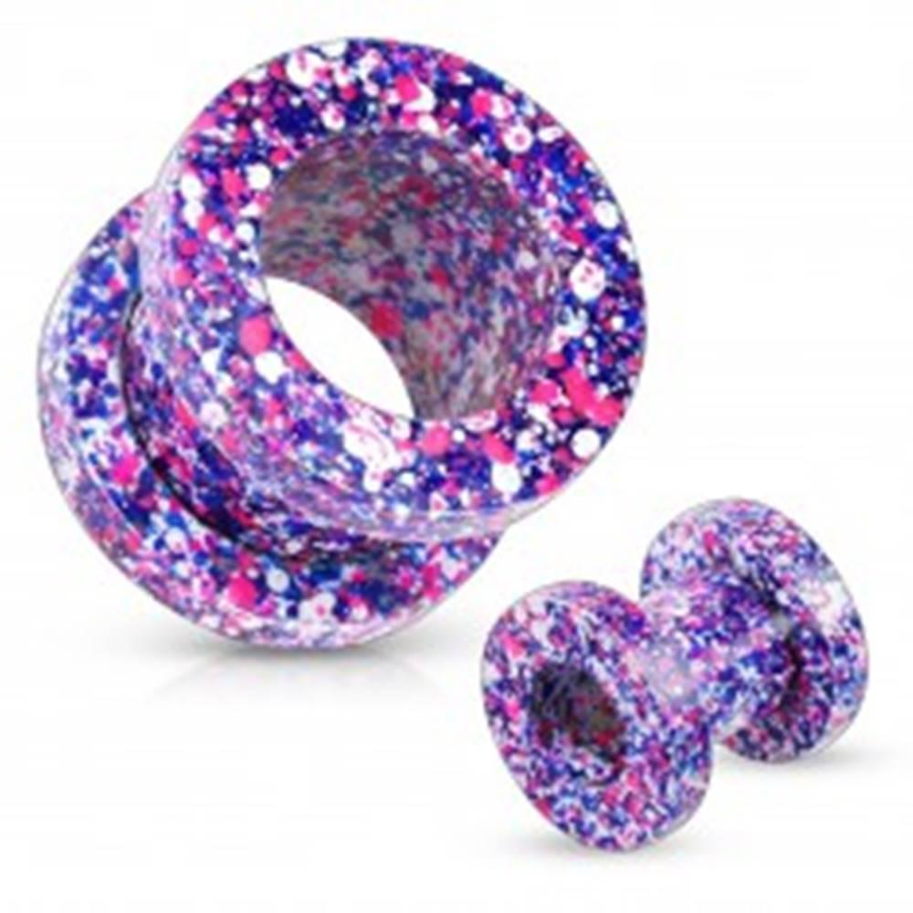 Šperky eshop Tunel z ocele 316L, pofŕkaný fialovou, ružovou, modrou a bielou farbou - Hrúbka: 10 mm