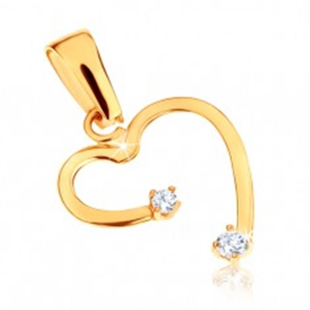 Šperky eshop Zlatý prívesok 375 - nepravidelný obrys srdca, kamienky čírej farby
