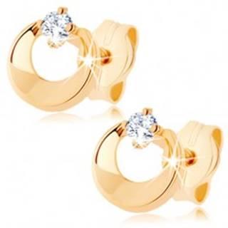Briliantové náušnice v žltom 14K zlate - kruh s výrezom a čírym diamantom