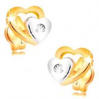 Briliantové náušnice zo 14K zlata - dve srdiečka a brúsený číry diamant