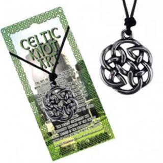 Čierna šnúrka na krk a lesklý kovový prívesok, keltský uzol kvet