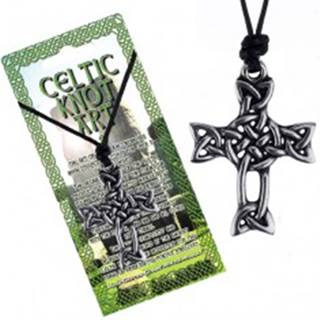 Čierna šnúrka na krk a lesklý prívesok, kríž z keltského uzla