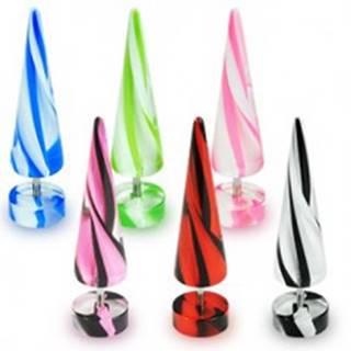 Falošný expander - dvojfarebné pásiky - Farba piercing: Biela - Modrá