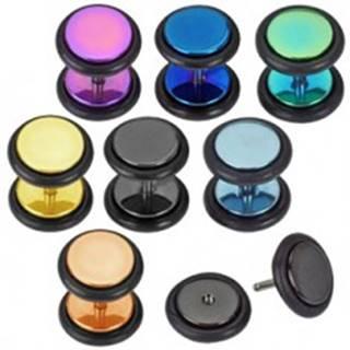 Farebný fake plug z ocele - kolieska s gumičkou, titánový povrch - Farba piercing: Čierna