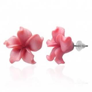 Fimo náušnice kvietok - zvlnené ružové lupienky