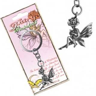 Kovový prívesok na kľúče - lesklá víla držiaca kvet, patina