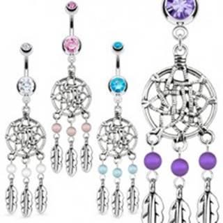 Lesklý oceľový piercing do pupku - lapač snov, pierka, guľôčky - Farba zirkónu: Aqua modrá - Q