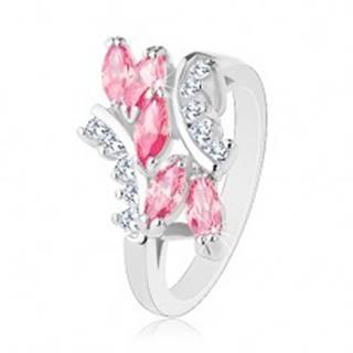 Lesklý prsteň striebornej farby, ružové zirkónové zrnká, číre zirkóniky - Veľkosť: 49 mm