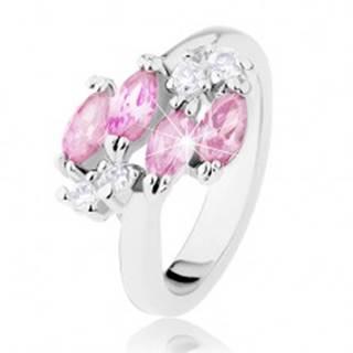 Lesklý prsteň v striebornej farbe, ružové zirkónové zrnká, číre zirkóniky - Veľkosť: 49 mm