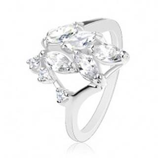 Ligotavý prsteň striebornej farby, číre brúsené zrnká, okrúhle zirkóniky - Veľkosť: 56 mm