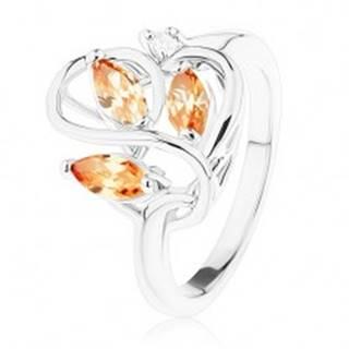 Ligotavý prsteň striebornej farby, zvlnené línie, oranžové zirkóny - Veľkosť: 53 mm