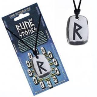 Náhrdelník na krk so šnúrkou a kovovým štítkom, runa Raido