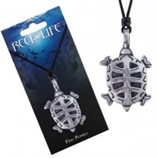 Náhrdelník - šnúrka, kovový prívesok, vyrezávaná korytnačka