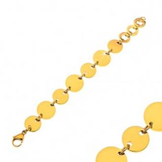 Náramok z chirurgickej ocele s lesklými plochými kruhmi v zlatej farbe