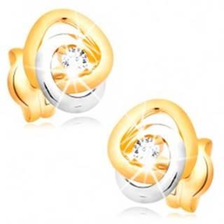 Náušnice v 14K zlate - dvojfarebné prepojené prstence, trblietavý číry briliant
