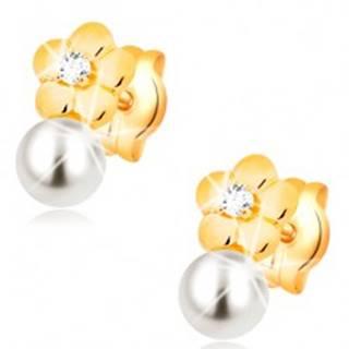 Náušnice zo žltého 14K zlata, lesklý kvet s čírym diamantom, biela perla