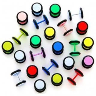 Neónový falošný plug anodizovaný s gumičkami - Farba piercing: Červená
