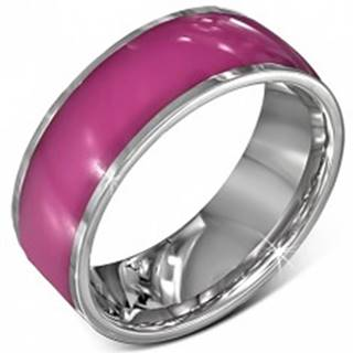 Oceľová obrúčka - lesklá ružová s okrajmi striebornej farby, 8 mm - Veľkosť: 52 mm