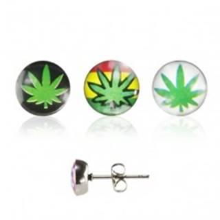 Oceľové náušnice, puzetka, číra glazúra, lístok marihuany s rôznym pozadím - Farba: Biela
