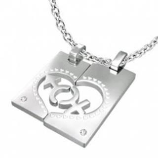 Oceľový prívesok pre dvojicu - obdĺžnik, srdce, znak MUŽA a ŽENY, zirkóny