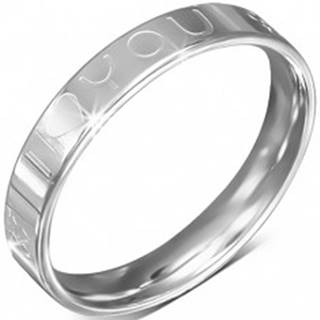 Oceľový prsteň - obrúčka, nápis I LOVE YOU, symbol ženy a muža - Veľkosť: 49 mm