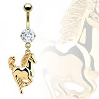 Piercing do pupku - koník zlatej farby
