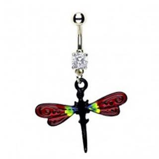 Piercing do pupku - vážka, červené krídla