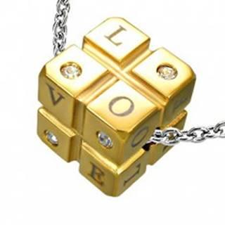 Prívesok kocka z ocele - zirkóny a nápis - Rozmer: 11 mm x 11 mm x 11 mm