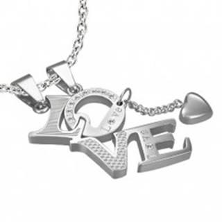 Prívesok z ocele pre zamilovaných LOVE - srdiečko, zirkóny, nápis