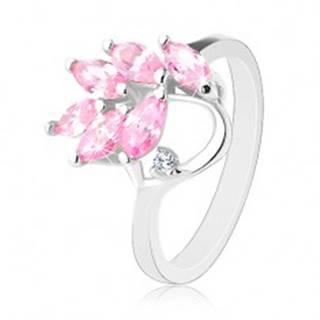 Prsteň s lesklými ramenami, vetvička s ružovými zirkónovými lístkami - Veľkosť: 47 mm