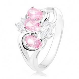 Prsteň striebornej farby, rozdelené ramená, ružové ovály, číre zirkóniky - Veľkosť: 49 mm