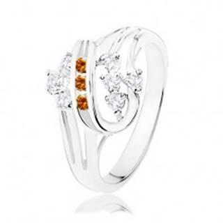 Prsteň v striebornej farbe, dvojitá špirála s oranžovými a čírymi zirkónmi - Veľkosť: 51 mm