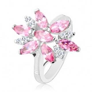Prsteň v striebornom odtieni, veľký kvet s ružovými a čírymi lupeňmi - Veľkosť: 49 mm