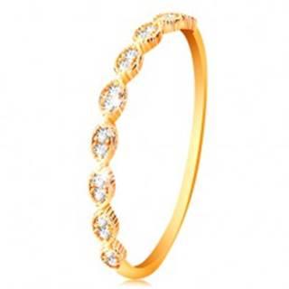 Prsteň v žltom 14K zlate - spájané zrnká so vsadenými zirkónikmi - Veľkosť: 50 mm