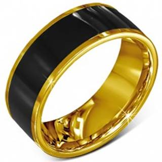 Prsteň z chirurgickej ocele - hladká čierna obrúčka, lem zlatej farby - Veľkosť: 52 mm