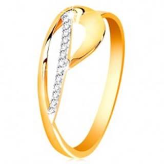 Prsteň zo zlata 585 - kontúra slzy a žiarivý oblúk z čírych zirkónikov - Veľkosť: 50 mm