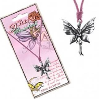 Ružová šnúrka na krk a kovový prívesok stojacej motýlej víly