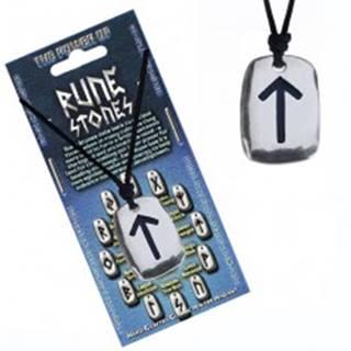 """Šnúrka na krk a kovový prívesok - čierny runový znak """"sila"""""""