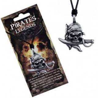 Šnúrkový náhrdelník - čierny s pirátskou lebkou hrdloreza