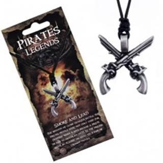 Šnúrkový náhrdelník - čierny so skríženými kovovými pištoľami