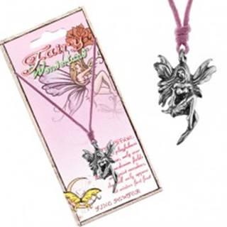 Šnúrkový náhrdelník - kovový prívesok, sediaca lúčna víla