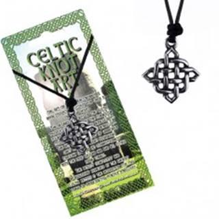 Šnúrkový náhrdelník s príveskom - lesklý štvorcový keltský uzol