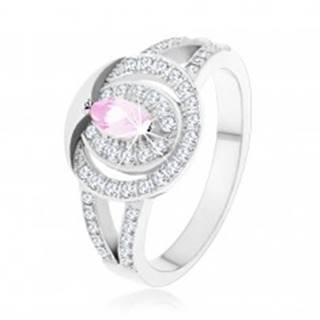 Strieborný 925 prsteň, číra zirkónová obruč so  svetloružovým zirkónom - Veľkosť: 49 mm