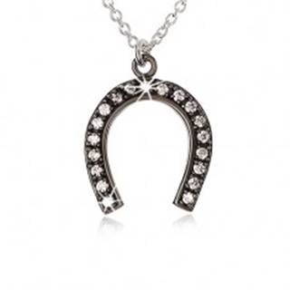 Strieborný náhrdelník 925, oceľovo sivá podkova pre šťastie, číre zirkóny