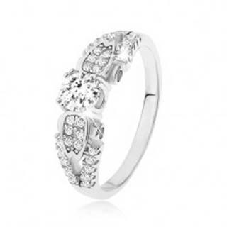 Strieborný prsteň 925, číre kamienky, rozdvojené previazané ramená, bočné zdobenie - Veľkosť: 47 mm