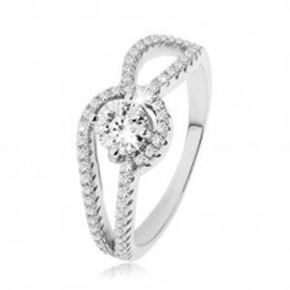 Strieborný prsteň 925, zdobené zaoblené ramená, okrúhly číry zirkón, vrúbkovanie - Veľkosť: 49 mm